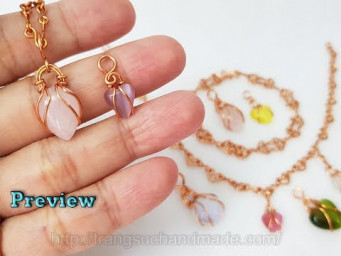 Preview small heart chains necklace, bracelet and small locks with many stone shapes 514