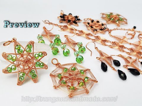 "Preview jewelry set from copper wire inspired ""God's eye craft"" 491"
