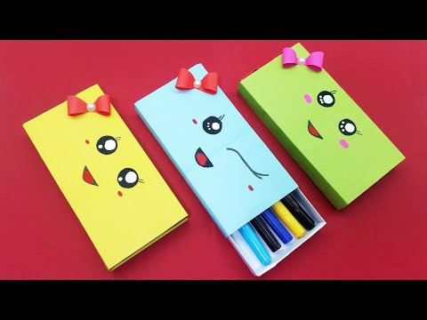 Easy Origami Pencil Box | How to make a paper pencil box | DIY paper pencil box idea | School Crafts
