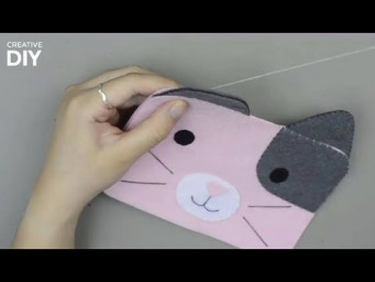 DIY Pencil Case Cute Cat From Felt | DIY Back to School Supplies