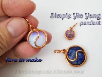 Simple Yin Yang pendant with round cabochon stone -  Wire wrap stones no hole 527