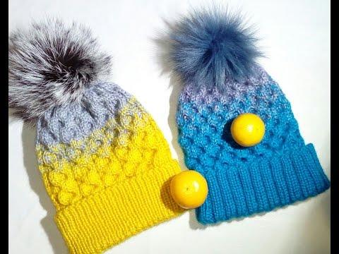шапка с узором сотышапка с градиентомшапка спицами и меховым
