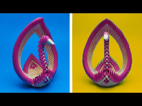 How to make a 3D origami Swan Basket