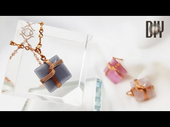 Square pendant | wrapping stones without holes | How to make | Wire Jewelry | DIY 560