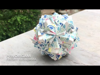 Freshy Kusudama - PrwOrigami Folding Tutorial 【くす玉・折り紙】x ASMR