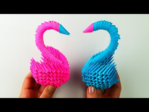 How to make a paper swan with one's own hands. [3D origami tutorial]