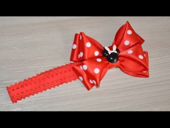 Повязка на голову с бантиком Минни Маус/Headband with bow Minnie mouse