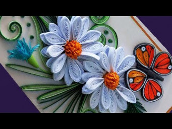 Birthday Card ideas || How to make Beautiful White flowers and butterfly For Birthday Gift  Card |