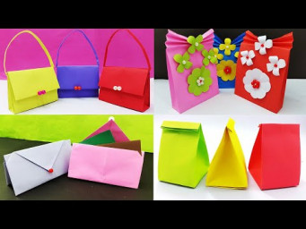 4 Amazing Paper Bag Making | How To Make Paper Bags | Origami Gift Bags | DIY School Crafts