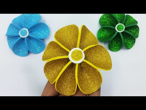 Flower Decoration Ideas | Flower Making With Glitter Foam Paper | DIY Room Decor | Paper Crafts