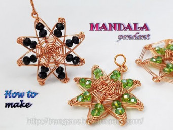 "Mandala pendant inspired ""God's eye craft"" - jewelry from copper wire and abacus crystal 498"