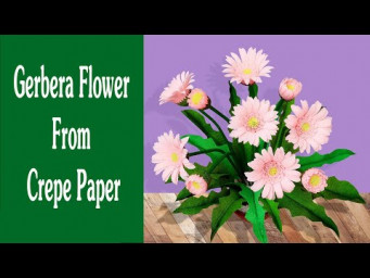 How To Make Gerbera Flower From Crepe Paper - Easy and Realistic