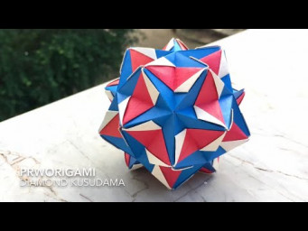 Diamond Kusudama - PrwOrigami Folding Tutorial 【くす玉・折り紙】x ASMR