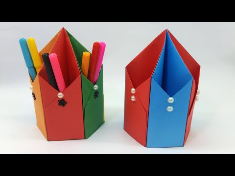 Paper Pencil Holder | How to Make Pen Stand |  Origami Pen Holder | Hexagonal Pen Holder Tutorial