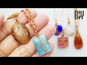 Pendant | Viking weaving | Stones without holes  | Cabochon | How to make | Wire Jewelry | DIY 568