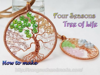 Four Seasons Tree of Life pendant with small crystal and copper wire 524