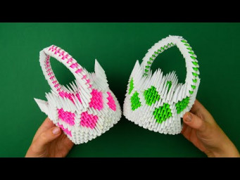 How to make a paper basket. [3D origami tutorial]