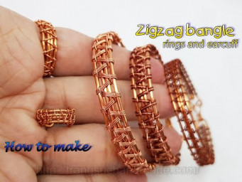 Zigzag bangle bracelet, rings and ear cuff - Jewelry for both men and women 559