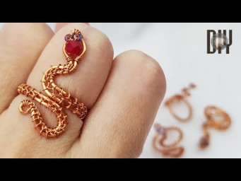 Snake ring | Crystal | Small spherical stone with holes | How to make | Wire Jewelry | DIY 579
