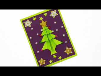 DIY CHRISTMAS GIFT CARD | CHRISTMAS TREE CARD MAKING EASY TUTORIAL | XMAS GREETING CARD IDEAS