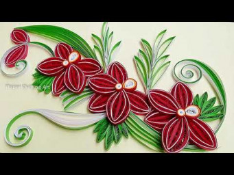 Paper Quilling Beautiful Orchid flowers Design Card