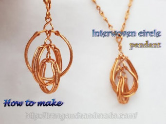 Interwoven circle pendant - How to make handmade jewelry from copper wire 510