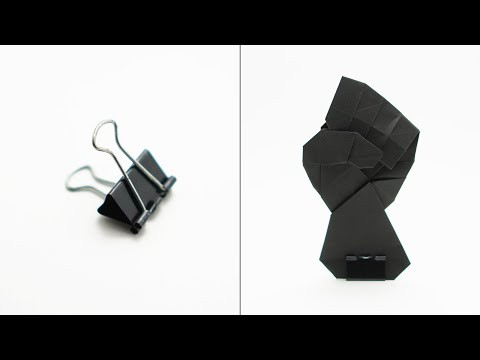 Binder clip stand for flat origami - Origami Tip #9