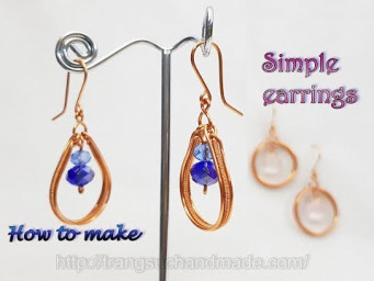 Simple earrings with stone have holes - How to make handmade jewelry from copper wire 509