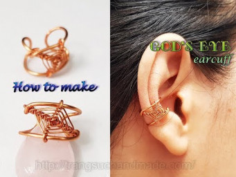 Ear cuff inspired God's eye craft - How to make handmade jewelry from copper wire 492