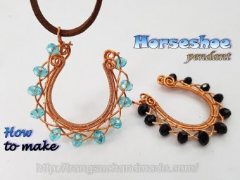 Horseshoe pendant with small crystal - How to make handmade jewelry 490