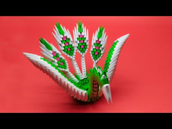 How to make a 3D origami Winged Peacock