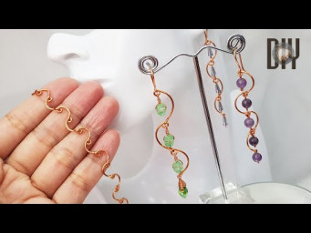 Waves| Chain link | Earrings | bracelet | Crystal | How to make | Wire Jewelry | DIY 575