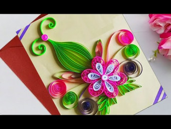 How to make Beautiful Quilling Flower Design Birthday Card | Paper Quilling Art
