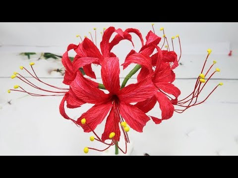 How To Make Red Spider Lily Paper Flowers From Crepe Paper Beautiful | Creative DIY