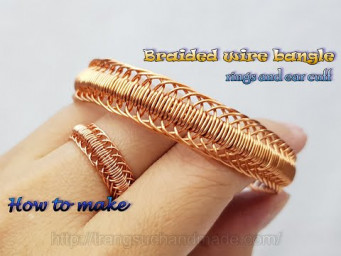 Braided wire bangle, rings and ear cuff - A little change,  will come out different patterns 550