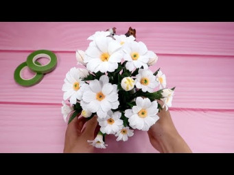 Crepe Paper Daisy Flower Tutorial - How To Make Daisy Paper Flower Beautiful | Creative DIY