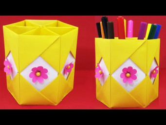 Easy Origami Pen Stand | How to Make Pen Stand | Paper Pencil Holder | DIY Hexagonal Pen Holder