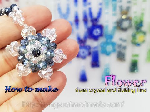 Flower pendant from crystal and fishing line - Gift for my mother 531