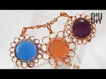 Flowers | Springs wire | Pendant | Round cabochon | Stone without holes | How to do | DIY 581