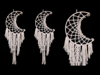 CRESCENT MOON Wall Hanging Dream Catcher Tutorial || Room Decor Ideas | DIY Macrame Wall Hanging