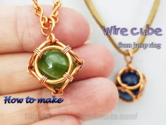 Cube from jump ring - Wire cage pendant for big sphere stone without holes 547