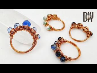 Simple ring | Crystal | spherical stone with holes | How to make | Wire Jewelry | DIY 591