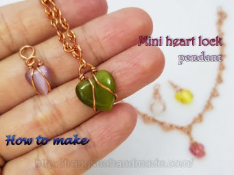 Mini heart lock with small cabochon - pendants, earrings or decorative bracelets, anklet 516