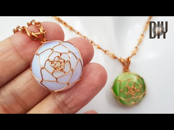 Stone Lotus | Pendant | Stone without hole | Round cabochon | How to do | Wire jewelry | DIY 577