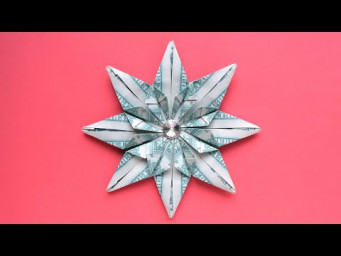 My MONEY SNOWFLAKE (STAR) | Decoration for Christmas | Modular Dollar Origami | Tutorial by NProkuda