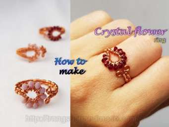 Crystal flower ring - How to make jewelry from copper wire 532