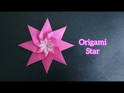 Origami 8-Point Star with Flower 折纸八角星