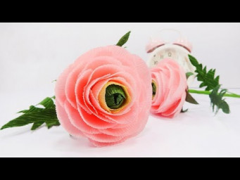 Crepe Paper Flowers - How To Make Ranunculus Flower From Crepe Paper Tutorial | Creative DIY