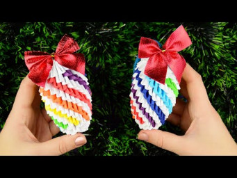 How to make a paper fir cone for Christmas tree (bauble). 3D origami tutorial DIY