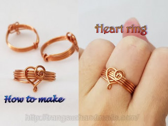 Heart rings - How to make jewelry from copper wire 557